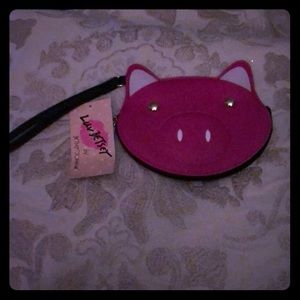 NWT Betsy Johnson pink pig Coin purse wristlet